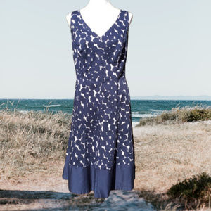 Polka Dot A-Line Dress Sleeveless Navy Stretch 14W